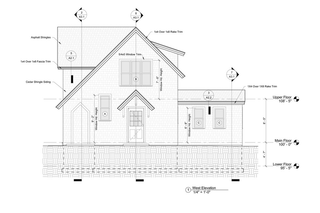 residential exterior elevation drawing